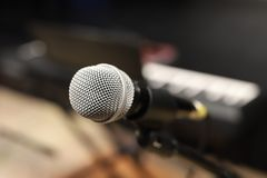 Microphone, audio mixing console stock photography