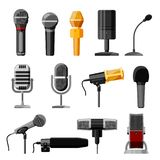 Microphone audio vector dictaphone and microphones for podcast broadcast or music record technology set of broadcasting royalty free stock images