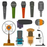 Microphone audio vector dictaphone and microphones for podcast broadcast or music record broadcasting set illustration. Isolated on white background stock illustration