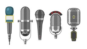 Microphone audio vector dictaphone and microphones for podcast broadcast or music record technology set of broadcasting. Concert equipment illustration isolated stock illustration