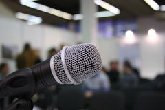 Microphone in auditorium Stock Photos