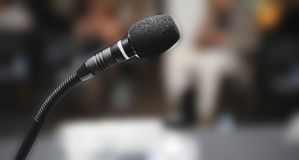 Microphone in auditorium Royalty Free Stock Photography