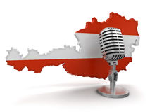Microphone and Austria (clipping path included) Royalty Free Stock Image