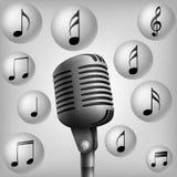 Microphone avec la note de musique illustration de vecteur