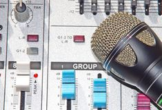 A microphone background mixer Stock Photography