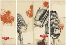 Microphone banners-drawing. Old microphone banners - drawing with old paper background Stock Image