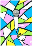 Microphone and happy colours. A microphone in black and white with a background filled with happy colours like pink, blue, green and yellow Royalty Free Stock Photography