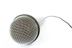 Microphone with black wire isolated on white Royalty Free Stock Photography