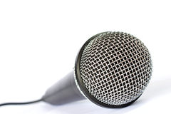 Microphone with black wire isolated on white Stock Image