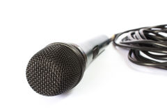 Microphone with black wire  on white Stock Photo