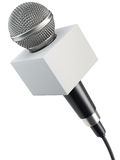 Microphone with blank advertising box Royalty Free Stock Photos