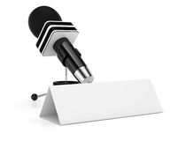 Microphone and blank calling card Royalty Free Stock Photography