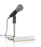 Microphone with blank for name. Royalty Free Stock Photography