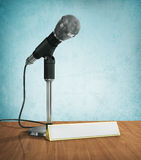 Microphone with blank for name. Royalty Free Stock Images