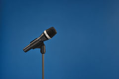 Microphone on blue Stock Image