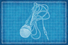 Microphone - Blue Print Royalty Free Stock Photo