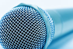 Microphone, in blue toning Royalty Free Stock Photo