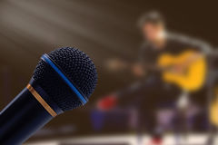 Microphone on Blur Background Royalty Free Stock Photo