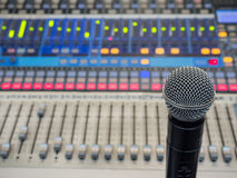 Microphone on the blur sound mixer background. Royalty Free Stock Photo