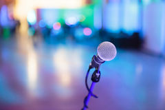 Microphone with blurred party stage Stock Photos