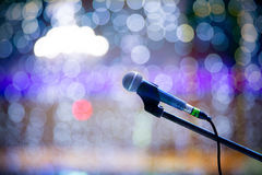 Microphone and bokeh background Royalty Free Stock Photography