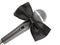 Microphone with bow tie. On white background stock photo