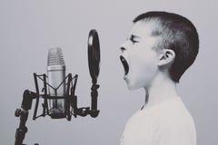 Microphone, Boy, Studio, Screaming Stock Images