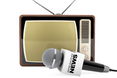Microphone with Breaking News Box Sign and Retro Old TV. 3d Rend Royalty Free Stock Photo