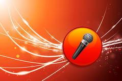Microphone Button on Red Abstract Light Background Stock Image