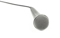 Microphone with cable high angle close up over white stock images