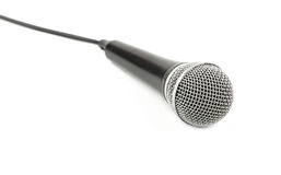Microphone with cable side view close up on white Stock Image