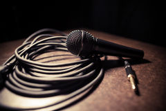 Microphone and cables Stock Photos