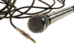 Microphone with cables and a plug Royalty Free Stock Image