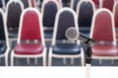 Microphone with chairs Royalty Free Stock Photos
