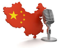 Microphone and China (clipping path included) Royalty Free Stock Images