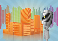 Microphone city Royalty Free Stock Image