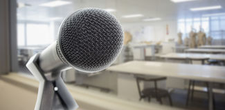 Microphone in classroom Royalty Free Stock Photo