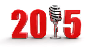 Microphone with 2015 (clipping path included) Stock Photography