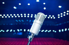 Microphone close up in concert hall Royalty Free Stock Photography