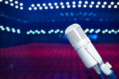 Microphone close up in concert hall Royalty Free Stock Photo
