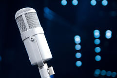 Microphone close up in concert hall Stock Photography