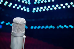 Microphone close up in concert hall Royalty Free Stock Photos
