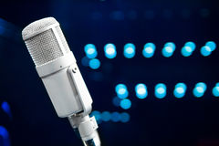 Microphone close up in concert hall Royalty Free Stock Images
