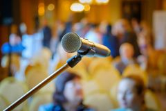 Microphone close up at the conference Royalty Free Stock Images