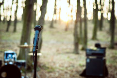 Microphone close up in the forest at sunset Stock Photo