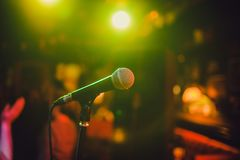 Microphone. Microphone close-up. A pub. Bar. A restaurant. Classical music. Music. Microphone. Microphone close-up. A pub. Bar. A restaurant Classical music royalty free stock image