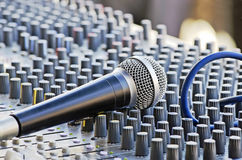 Microphone on the sound mixer Royalty Free Stock Photo