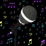 Microphone Closeup With Music Notes Shows Songs Or Hits Stock Images