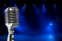 Microphone On Colorful Background Stock Images