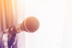 Microphone with colorful light Stock Photo